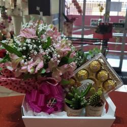 Cx com 2 mini cactus. Ferrero rocher com 8 unidades e sacole de astromelias