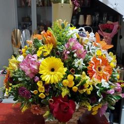 Cesta flores mistas super luxo. Lirios. Gerberas. Astromelias. Rosas. Tango. Flores do campo